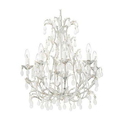 Ideal Lux Cascina - 8 Light Chandelier Gold, White Finish, E14