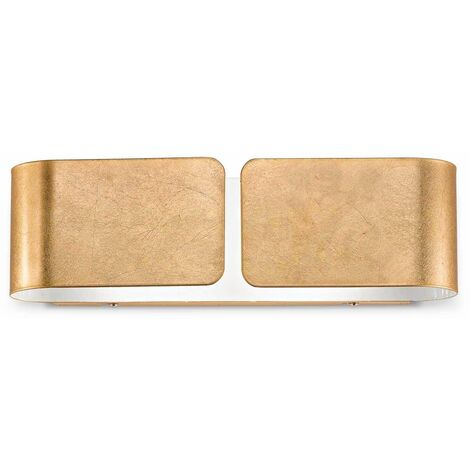 Ideal Lux Clip - 2 Light Indoor Large Wall Light Gold, E27