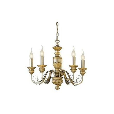 Ideal Lux Dora - 5 Light Chandelier Antique Brass Finish, E14