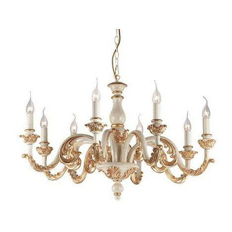 Ideal Lux Giglio - 8 Light Chandelier Gold, White Finish, E14