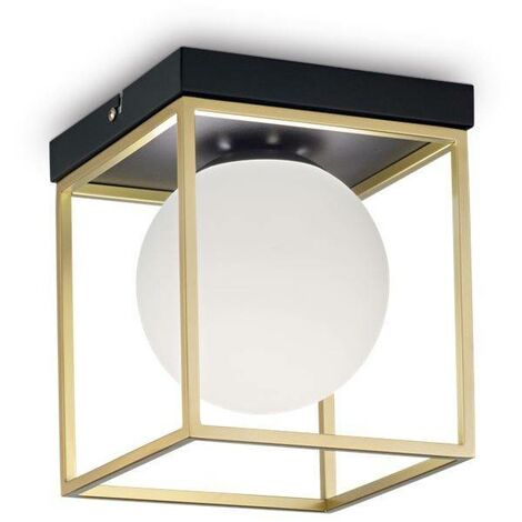 Ideal Lux Lingotto - 1 Light Globe Ceiling Light Antique Brass