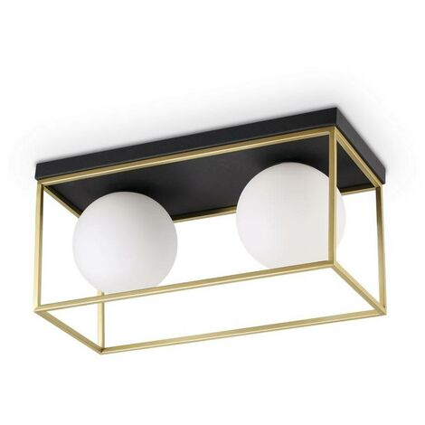 Ideal Lux Lingotto - 2 Light Globe Ceiling Light Antique Brass