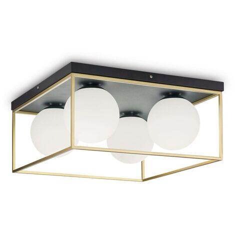 Ideal Lux Lingotto - 4 Light Globe Ceiling Light Antique Brass