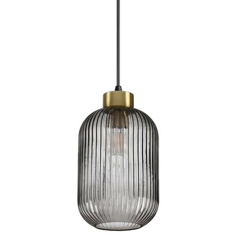 Ideal Lux MINT-1 - Indoor Glass Dome Ceiling Pendant Lamp 1 Light Smokey, E27