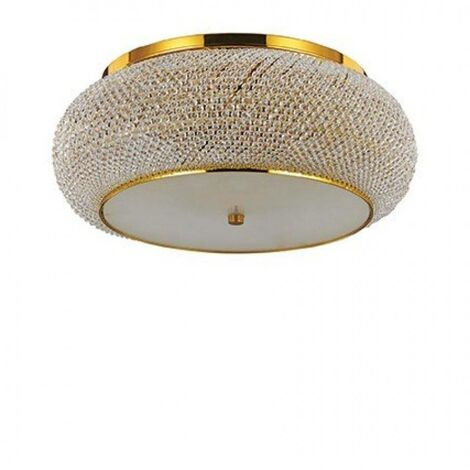 Ideal Lux Pasha' - 10 Light Ceiling Flush Light Gold with Crystals, E14
