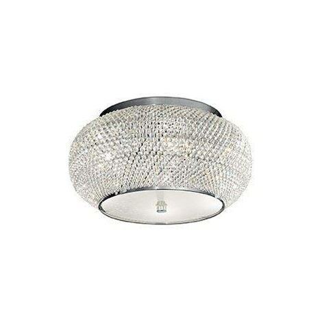 Ideal Lux Pasha' - 6 Light Ceiling Flush Light Chrome, Crystal, E14