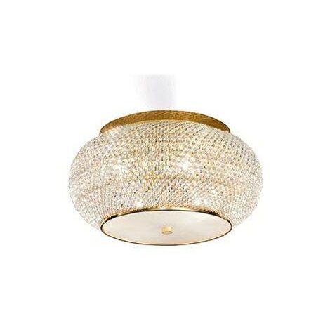Ideal Lux Pasha' - 6 Light Ceiling Flush Light Gold with Crystals, E14