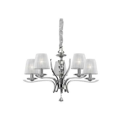 Ideal Lux Pegaso - 5 Light Crystal Multi Arm Chandelier Chrome, White Finish, E14
