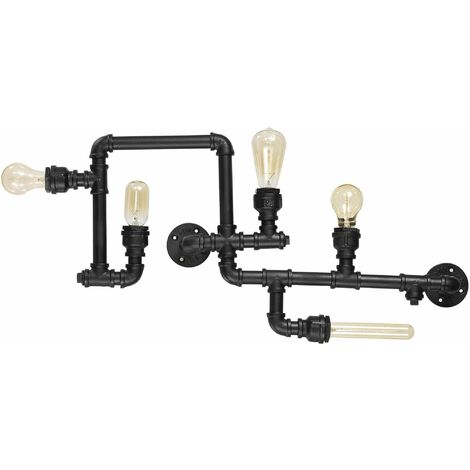 Ideal Lux Plumber - 5 Light Indoor Wall / Ceiling Light Matt Black, E27