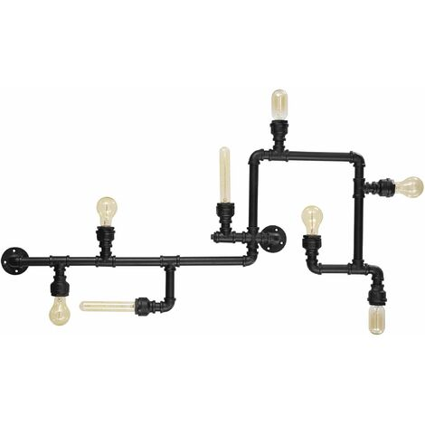 Ideal Lux Plumber - 8 Light Indoor Wall / Ceiling Light Matt Black, E27