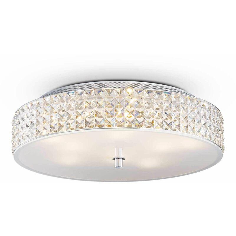 Image of 9-light white ROMA crystal ceiling light