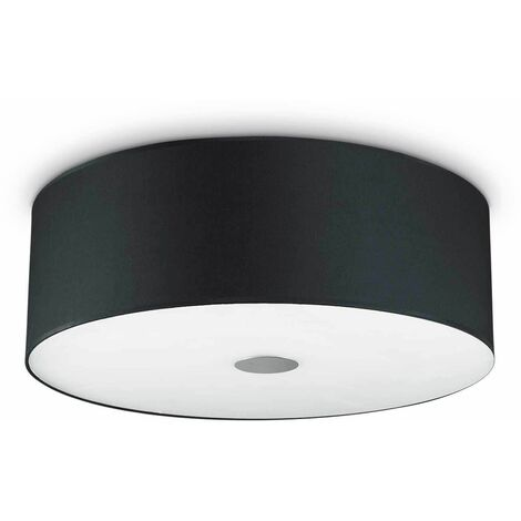Ideal Lux Woody - 5 Light Large Ceiling Flush Light Black, E27