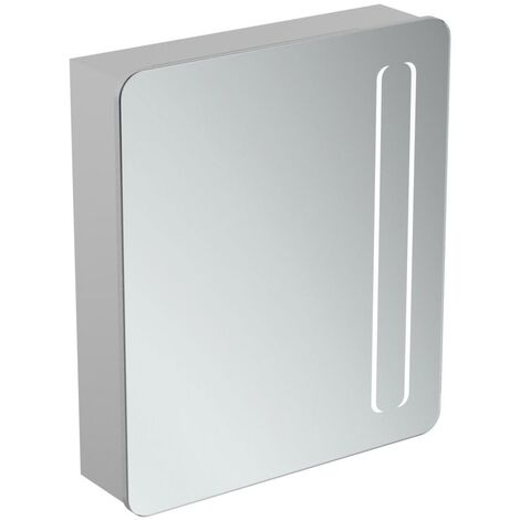 Ideal Standard 1-Door Mirror Cabinet with Bottom Ambient and Front Light 630mm Wide - Aluminium