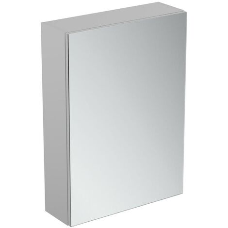Ideal Standard 1-Door Mirror Cabinet with Bottom Ambient Light 500mm Wide - Aluminium