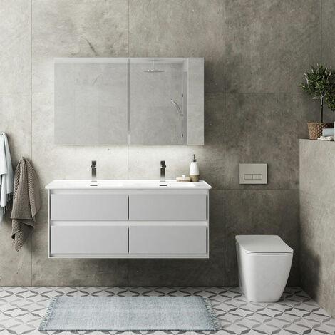 Ideal Standard 2-Door Mirror Cabinet with Bottom Ambient Light 1000mm Wide - Aluminium