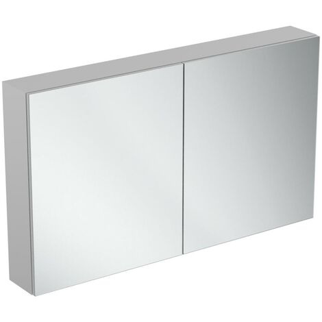 Ideal Standard 2-Door Mirror Cabinet with Bottom Ambient Light 1200mm Wide - Aluminium