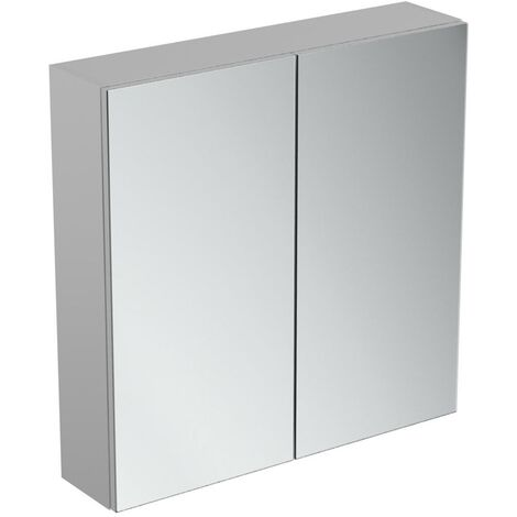 Ideal Standard 2-Door Mirror Cabinet with Bottom Ambient Light 700mm Wide - Aluminium