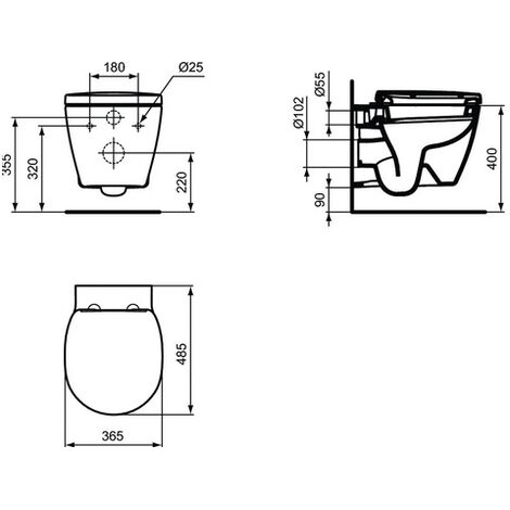 Ideal Standard - Abattant WC recouvrant blanc - CONNECT SPACE
