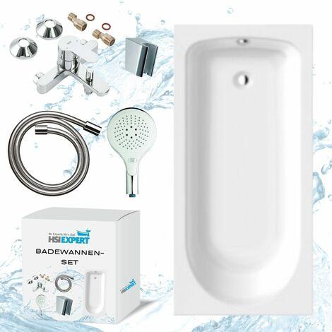 Ideal Standard Acryl-Körperform-Badewanne, Optional Styroporträger, mit Grohe Wannenbatterie, Design Brauseset