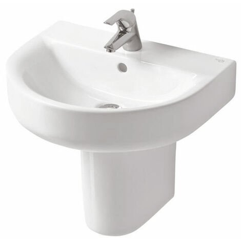 Ideal Standard Concept Arc Basin and Semi Pedestal 550mm Wide 1 Tap Hole