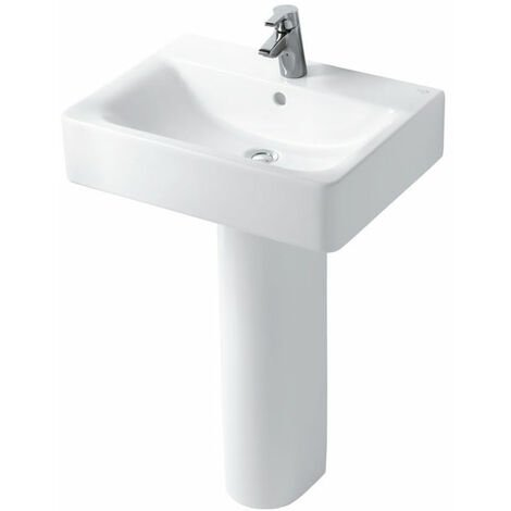 Ideal Standard Concept Cube Short Projection Basin and Full Pedestal 550mm Wide 1 Tap Hole