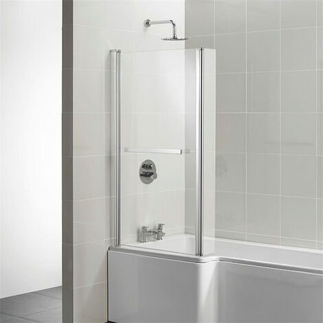 Ideal Standard Concept L-Shaped Bath Screen with Hinged End Panel and Towel Rail 1400mm H x 828mm W - 5mm Glass
