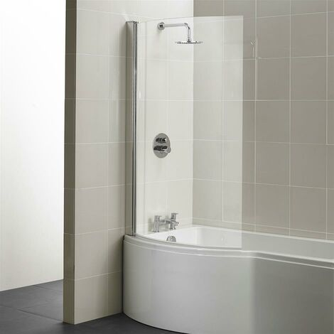 Ideal Standard Concept Shower Bath Screen 1022mm Wide Silver Frame 5mm Glass