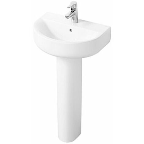Ideal Standard Concept Space Arc Short Projection Basin and Full Pedestal 550mm x 380mm 1 Tap Hole