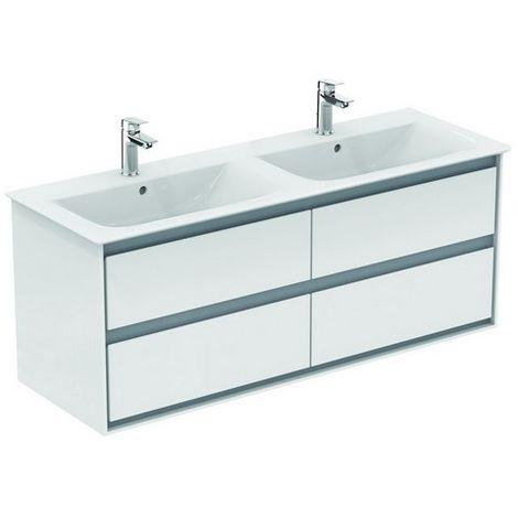 Ideal Standard CONNECT Air furniture lavabo doble, 1300 mm, 4 extraíbles, E0824, color: Gris claro brillante / blanco mate - E0824EQ