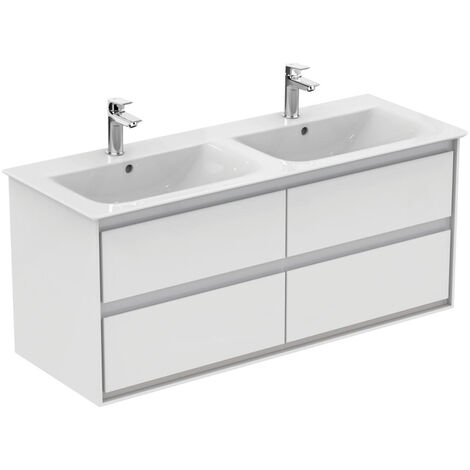 Ideal Standard CONNECT AIR Meuble pour lavabo-plan double Couleur blanc laqué/gris plume mat 517 x 1200 x 440 mm (E0822KN)