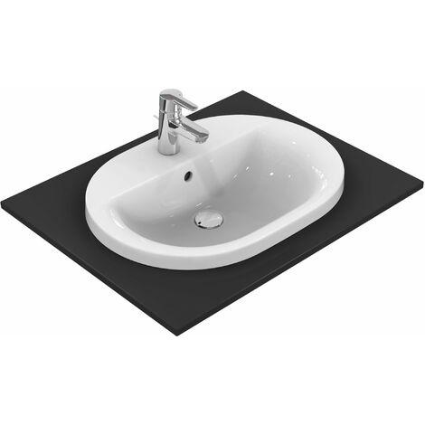 Ideal Standard Connect Lavabo encastré ovale 620mm E5040, Coloris: Blanc avec Idéal Plus - E5040MA