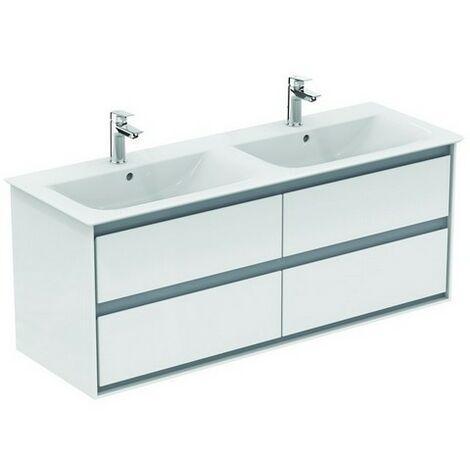Ideal Standard CONNECT Meuble sous-lavabo double à air, 1200 mm, 4 tiroirs, E0822, Coloris: Blanc brillant / gris clair mat - E0822KN