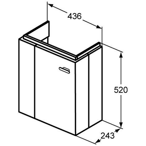 Ideal Standard CONNECT SPACE Módulo de lavabo, 450mm, 1 puerta, estante a la izquierda, E0370, color: Decoración Roble Americano - E0370SO