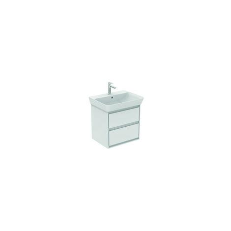 Ideal Standard CONNECT Unidad de lavabo de aire, 530 mm, 2 extraíbles, E1606, color: Blanco brillante / gris claro mate - E1606KN
