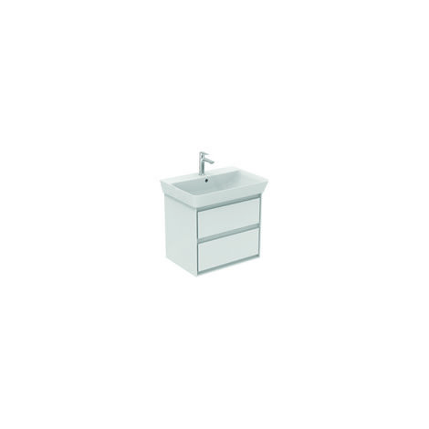 Ideal Standard CONNECT Unidad de lavabo de aire, 580 mm, 2 extraíbles, E1605, color: Blanco brillante / gris claro mate - E1605KN