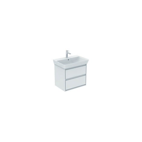 Ideal Standard CONNECT Unidad de lavabo de aire, 580 mm, 2 extraíbles, E1605, color: Roble decorado en gris / blanco mate - E1605PS