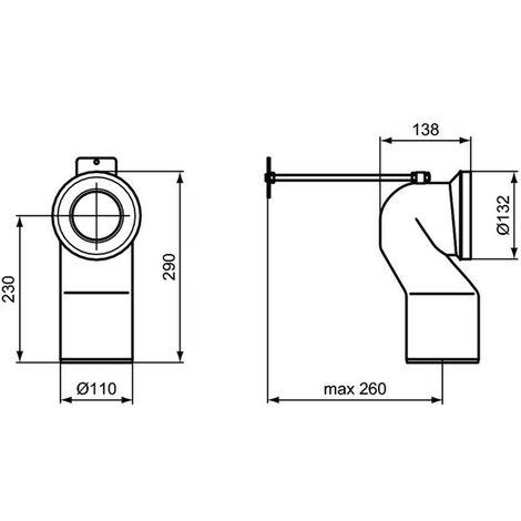 Ideal Standard - Coude de raccordement WC sur pied sortie H de 120 à 150mm - TNT