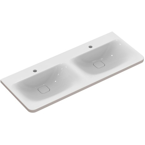 Ideal standard - Lavabo-plan double TONIC II 121,5 cm percé 2x 1 trou blanc installation avec meuble - K087001