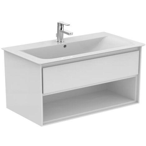 Ideal standard - Meuble CONNECT AIR 100 cm pour lavabo-plan avec 1 tiroir et 1 niche blanc laqué / blanc mat - E0828B2