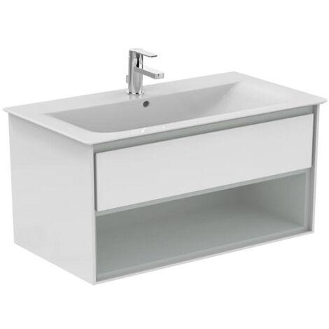 Ideal standard - Meuble CONNECT AIR 100 cm pour lavabo-plan avec 1 tiroir et 1 niche blanc laqué / gris plume mat - E0828KN