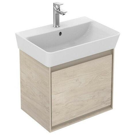 Ideal Standard - Meuble pour lavabo cube 43,5x40,2x40cm 1 tiroir Chêne cérusé / Beige glacé - CONNECT AIR