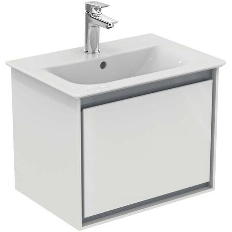 Ideal Standard - Meuble pour lavabo-plan 50x36x40cm 1 tiroir Blanc laqué/ Gris plume mat - CONNECT AIR