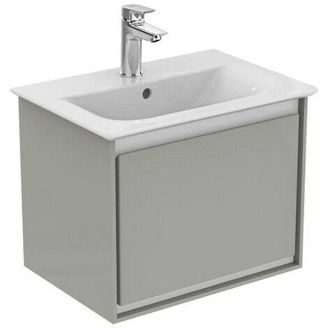 Ideal Standard - Meuble pour lavabo-plan 50x36x40cm 1 tiroir gris plume brillant/ Blanc mat - CONNECT AIR