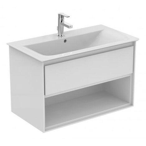 Ideal Standard - Meuble pour lavabo-plan 80cm 1 tiroir 1 niche blanc laqué/blanc mat - CONNECT AIR
