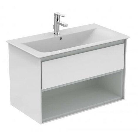 Ideal Standard - Meuble pour lavabo-plan 80cm 1 tiroir 1 niche Blanc laqué/gris plume mat - CONNECT AIR