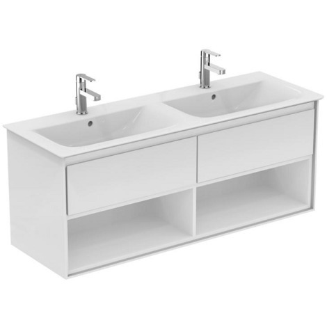 Ideal standard - Meuble pour lavabo-plan double Connect Air 130 x 44 x (H)51,7 cm blanc laqué / blanc mat - E0831B2