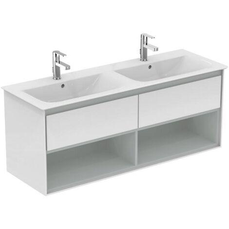 Ideal standard - Meuble pour lavabo-plan double Connect Air 130 x 44 x (H)51,7 cm blanc laqué / gris plume mat - E0831KN