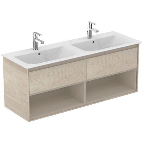 Ideal standard - Meuble pour lavabo-plan double Connect Air 130 x 44 x (H)51,7 cm chêne cérusé / beige glacé mat - E0831UK