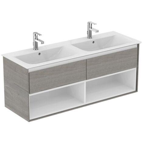 Ideal standard - Meuble pour lavabo-plan double Connect Air 130 x 44 x (H)51,7 cm chêne grisé / blanc mat - E0831PS