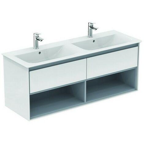 Ideal Standard Meuble sous-lavabo à double vasque, 1300 mm, 2 tiroirs, E0831, Coloris: Blanc brillant / gris clair mat - E0831KN